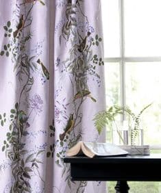 Jardin des Oiseaux - Lilas linen mix fabric - 4.5m end of roll